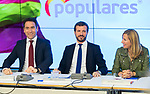 (L to R) Teodoro Garcia Egea, Pablo Casado and Ana Beltran during the General Council of Partido Popular. July 29, 2019. (ALTERPHOTOS/Francis González)