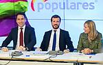 (L to R) Teodoro Garcia Egea, Pablo Casado and Ana Beltran during the General Council of Partido Popular. July 29, 2019. (ALTERPHOTOS/Francis González)