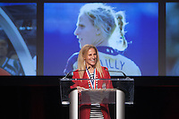 San Francisco, CA - Saturday Feb. 14, 2015: US Soccer player Kristine Lilly acceptance speech after being inducted into the hall of fame at the 2014 US Soccer Hall of Fame Induction ceremony.