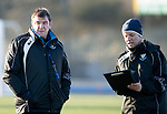 St Johnstone Training&hellip;.14.12.18    McDiarmid Park<br />Manager Tommy Wright talks with assistant Alex Cleland during training this morning ahead of tomorrows game against Motherwell<br />Picture by Graeme Hart.<br />Copyright Perthshire Picture Agency<br />Tel: 01738 623350  Mobile: 07990 594431