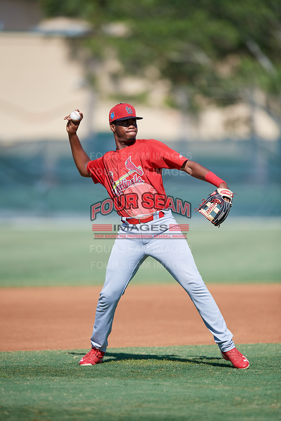 GCL Cardinals third baseman Raffy Ozuna (27) throws to first base during a game against the GCL Nationals on August 5, 2018 at Roger Dean Chevrolet Stadium in Jupiter, Florida.  GCL Cardinals defeated GCL Nationals 17-7.  (Mike Janes/Four Seam Images)