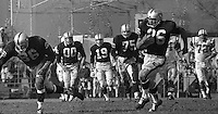 1963 Oakland Raiders vs New York Jets: Raiders Clem Daniels running..behind him Jim Otto & Cotton Davidson. (photo 1963 by Ron Riesterer)