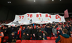Liverpool fans hold up a banner displaying the previous five years they have won the European Trophy during the Champions League Quarter Final 1st Leg, match at Anfield Stadium, Liverpool. Picture date: 4th April 2018. Picture credit should read: Simon Bellis/Sportimage