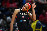 Washington, DC - July 13, 2019: Las Vegas Aces center A'ja Wilson (22) does a little dance during warm up's before game between Las Vegas Aces and Washington Mystics at the Entertainment & Sports Arena in Washington, DC. (Photo by Phil Peters/Media Images International)