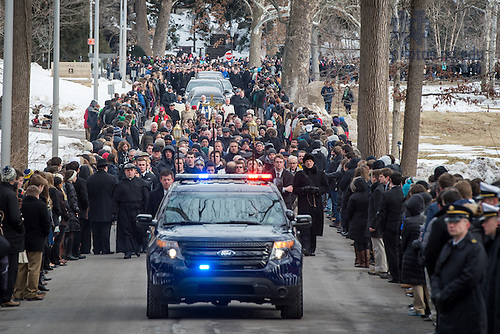 Mar. 4, 2015; Procession from the Basilica to the Congregation of Holy Cross cemetery following the funeral Mass of President Emeritus Rev. Theodore M. Hesburgh, C.S.C.. (Photo by Barbara Johnston/University of Notre Dame)