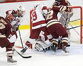Ben Smith (BC - 12), Chris Huxley (Harvard - 28), Alex Killorn (Harvard - 19), Paul Carey (BC - 22) (Carroll) - The Boston College Eagles defeated the Harvard University Crimson 3-2 on Wednesday, December 9, 2009, at Bright Hockey Center in Cambridge, Massachusetts.