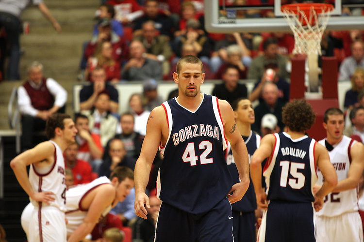 Josh Heytvelt (#42), Gonzaga forward, had 22 points in a hard fought victory over Washington State in Pullman, Washington, on December 10, 2008, to break a two game losing streak against the Cougars.