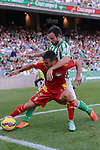 Molinero (R) and Joselu fight for the ball during the match between Real Betis and Recreativo de Huelva day 10 of the spanish Adelante League 2014-2015 014-2015 played at the Benito Villamarin stadium of Seville. (PHOTO: CARLOS BOUZA / BOUZA PRESS / ALTER PHOTOS)