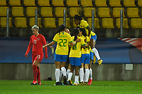 20200310  Calais , France : Brasilian players celebratinh their opening goal from Marta  pictured during the female football game between the national teams of  Brasil and Canada on the third and last matchday of the Tournoi de France 2020 , a prestigious friendly womensoccer tournament in Northern France , on Tuesday 10 th March 2020 in Calais , France . PHOTO SPORTPIX.BE | DIRK VUYLSTEKE