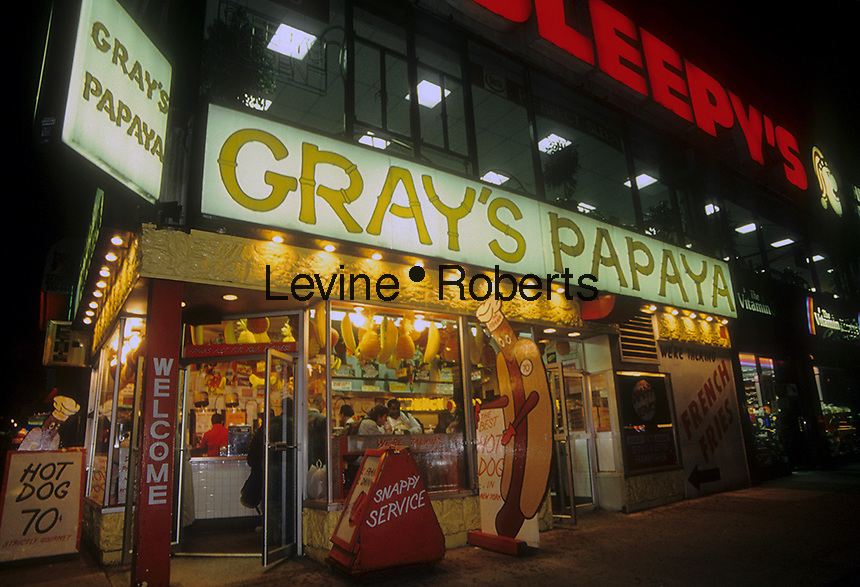 The Upper West Side Gray's Papaya in New York is seen on July 1995.  (© Richard B. Levine)