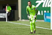 Portland, OR - Saturday April 15, 2017: Ashlyn Harris during a regular season National Women's Soccer League (NWSL) match between the Portland Thorns FC and the Orlando Pride at Providence Park.