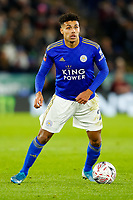 4th January 2020; King Power Stadium, Leicester, Midlands, England; English FA Cup Football, Leicester City versus Wigan Athletic; James Justin of Leicester City on the ball - Strictly Editorial Use Only. No use with unauthorized audio, video, data, fixture lists, club/league logos or 'live' services. Online in-match use limited to 120 images, no video emulation. No use in betting, games or single club/league/player publications