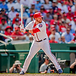 23 August 2018: Washington Nationals first baseman Mark Reynolds in action against the Philadelphia Phillies at Nationals Park in Washington, DC. The Phillies shut out the Nationals 2-0 to take the 3rd game of their 3-game mid-week divisional series. Mandatory Credit: Ed Wolfstein Photo *** RAW (NEF) Image File Available ***