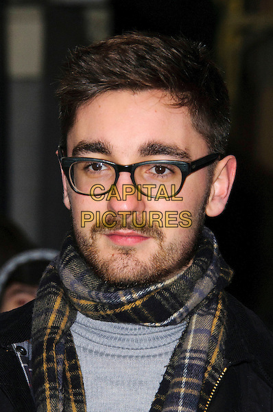 Gus Unger-Hamilton of Alt-J.Brits 2013 Nominations Party - Outside Arrivals, London, United Kingdom,.10th January 2013..portrait headshot glasses checked plaid tartan scarf beard facial hair .CAP/CJ.©Chris Joseph/Capital Pictures.