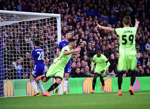 21.02.2016. Stamford Bridge, London, England. Emirates FA Cup 5th Round. Chelsea versus Manchester City. David Faupala turns to celebrate as he scores for Manchester City to level the game at 1-1