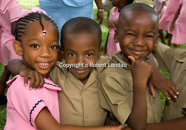 School kids on field trip to Botanical Gardens in Kingston, Jamaica