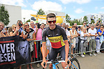 Belgian Natonal Champion Oliver Naesen (BEL) AG2R La Mondiale with his fans at sign on in Mondorf-les-Bains before the start of Stage 4 of the 104th edition of the Tour de France 2017, running 207.5km from Mondorf-les-Bains, Luxembourg to Vittel, France. 4th July 2017.<br /> Picture: Eoin Clarke | Cyclefile<br /> <br /> <br /> All photos usage must carry mandatory copyright credit (&copy; Cyclefile | Eoin Clarke)