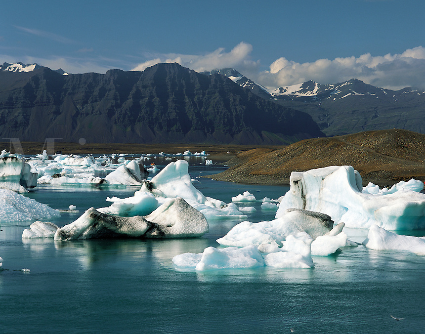 Icebergs floating in glacial lagoon with dark mountains behind, at Jokulsarlon in south-east Icelan