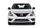 Car photography straight front view of a 2015 Nissan Versa 1.6 SV CVT 4 Door Sedan Front View