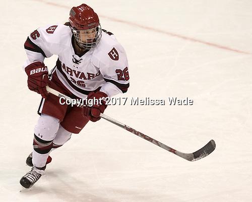 Haley Mullins (Harvard - 26) - The Harvard University Crimson tied the Boston University Terriers 6-6 on Monday, February 7, 2017, in the Beanpot consolation game at Matthews Arena in Boston, Massachusetts.