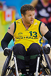 Greg Smith keeps his eye on the ball in the Australia vs Canada match in the Wheelchair Rugby at the USTB Gymnasium at the Paralympic Games, Beijing, China 15th September 2008
