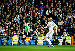 Real Madrid spanish forward Karim Benzema during spanish league football match beetwen Real Madrid and Villarreal CF at the Santiago Bernabeu stadium in Madrid on march 01, 2015. Samuel de Roman / Photocall3000