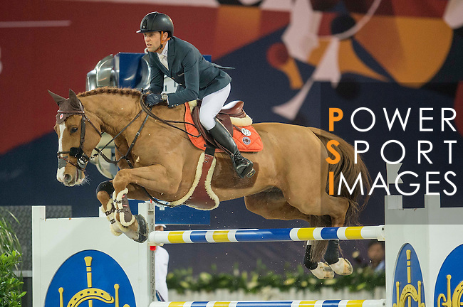 Simon Delestre of France riding Chesall Zimequest during the Hong Kong Jockey Club Trophy competition, part of the Longines Masters of Hong Kong on 10 February 2017 at the Asia World Expo in Hong Kong, China. Photo by Juan Serrano / Power Sport Images