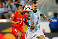 Action photo during the match Argentina vs Chile at Levis Stadium Copa America Centenario 2016. ---Foto  de accion durante el partido Argentina vs Chiler, En el Estadio de la Universidad de Phoenix, Partido Correspondiante al Grupo - D -  de la Copa America Centenario USA 2016, en la foto (I)-(D) Alexis Sanchez, Nicolas Otmanedi<br /> --- 06/06/2016/MEXSPORT/PHOTOSPORT/ Andres Pina