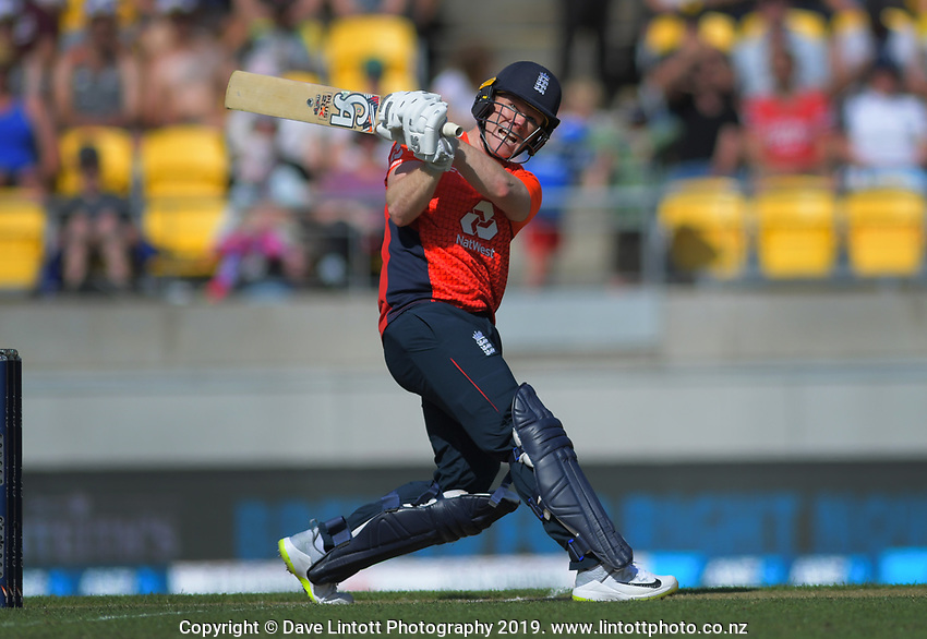 England captain Eoin Morgan hits a six. Twenty20 International cricket match between NZ Black Caps and England at Westpac Stadium in Wellington, New Zealand on Sunday, 3 November 2019. Photo: Dave Lintott / lintottphoto.co.nz