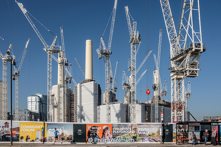Battersea Power Station development in the 480 acre Nine Elms regeneration zone, London.  The zone will include two new tube stations, the new US Embassy building, and 20,000 new  homes with prices up to £9 million.