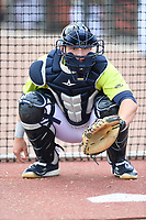 Catcher Hayden Senger (15) of the Columbia Fireflies works a drill before a game against the Charleston RiverDogs on Saturday, April 6, 2019, at Segra Park in Columbia, South Carolina. Columbia won, 3-2. (Tom Priddy/Four Seam Images)