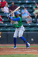 Jecksson Flores (1) of the Lexington Legends at bat against the Hickory Crawdads at L.P. Frans Stadium on April 29, 2016 in Hickory, North Carolina.  The Crawdads defeated the Legends 6-2.  (Brian Westerholt/Four Seam Images)