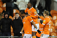 Blackpool's Nathan Delfouneso celebrates scoring his side's second goal with team-mates Marc Bola and Kiernan Dewsbury-Hall<br /> <br /> Photographer Kevin Barnes/CameraSport<br /> <br /> The EFL Sky Bet League One - Blackpool v Gillingham - Tuesday 11th February 2020 - Bloomfield Road - Blackpool<br /> <br /> World Copyright © 2020 CameraSport. All rights reserved. 43 Linden Ave. Countesthorpe. Leicester. England. LE8 5PG - Tel: +44 (0) 116 277 4147 - admin@camerasport.com - www.camerasport.com