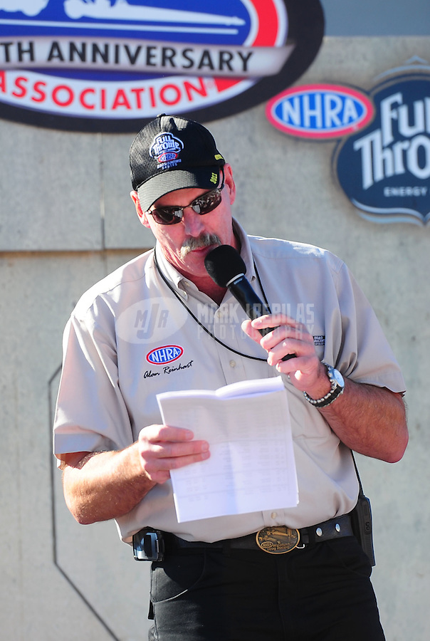 Oct. 30, 2011; Las Vegas, NV, USA: NHRA announcer Alan Reinhart during the Big O Tires Nationals at The Strip at Las Vegas Motor Speedway. Mandatory Credit: Mark J. Rebilas-