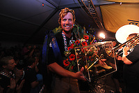 SKÛTSJESILEN: LEMMER: 08-08-2015, IFKS skûtsjesilen, Floriaan Zwart kampioen (B-klasse) met het skûtsje 'Ut en Thús' (Sneek), ©foto Martin de Jong