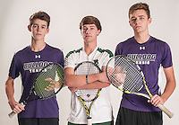 NWA Democrat-Gazette/ANTHONY REYES • @NWATONYR<br /> Hans Corbell (left) of Fayetteville, Braydon Montgomery (center) of Van Buren, and Cannon Kern, of Fayetteville, Wednesday, Dec. 2, 2015 at the Northwest Arkansas Democrat Gazette office in Springdale. Montgomery is the singles tennis player of the year and Corbell and Kern are the doubles players of the year.