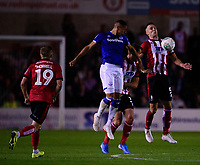 Lincoln City's Jason Shackell battles with Everton's Dominic Calvert-Lewin<br /> <br /> Photographer Andrew Vaughan/CameraSport<br /> <br /> The Carabao Cup Second Round - Lincoln City v Everton - Wednesday 28th August 2019 - Sincil Bank - Lincoln<br />  <br /> World Copyright © 2019 CameraSport. All rights reserved. 43 Linden Ave. Countesthorpe. Leicester. England. LE8 5PG - Tel: +44 (0) 116 277 4147 - admin@camerasport.com - www.camerasport.com