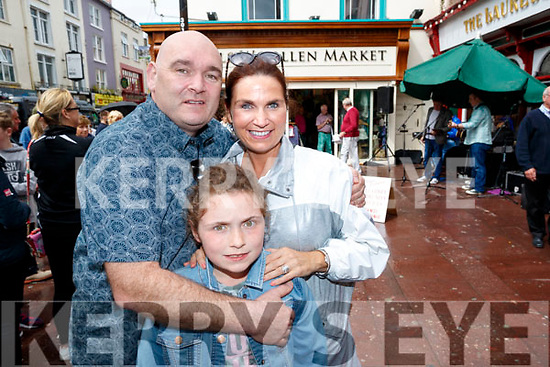 Conor Molly and Majella Duignan, Tralee at the Busking at the Market Cross in Killarney on Monday.