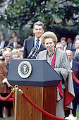 United States President Ronald Reagan, left, listens as Prime Minister Margaret Thatcher of Great Britain, right makes remarks during a welcoming ceremony in her honor on the South Lawn of the White House in Washington, D.C. on Wednesday, November 16, 1988.  Thatcher died from a stroke at 87 on Monday, April 8, 2013..Credit: Ron Sachs / CNP