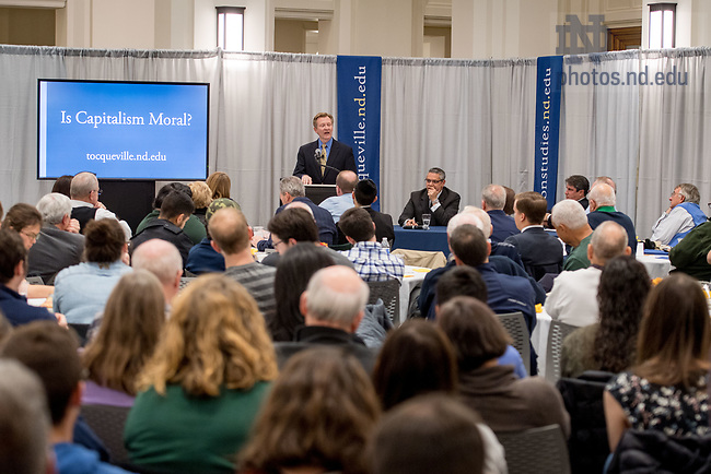 "November 17, 2017; ND alumnus James Otteson '90, speaks on the topic ""Is Capitalism Moral?"" at a lecture hosted by the Tocqueville Program for Inquiry Into Religion and Public Life. (Photo by Matt Cashore/University of Notre Dame)"