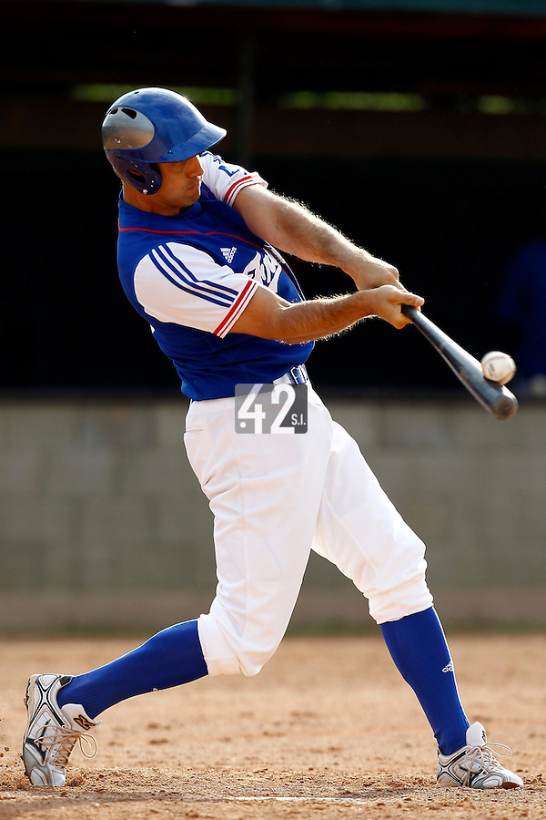 24 June 2011: Sebastien Boyer of Team France makes contact for a foul ball during France 8-5 win over UCLA Alumni, at the 2011 Prague Baseball Week, in Prague, Czech Republic.