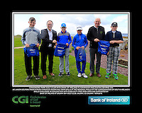 Craigmore Park Boys with PJ Kavanagh from Bank of Ireland and Justin O'Byrne from CGI.<br /> Junior golfers from across connacht practicing their skills at the regional finals of the Dubai Duty Free Irish Open Skills Challenge supported by Bank of Ireland at Galway Bay golf club, Galway, Co Galway. 2/04/2016.<br /> Picture: Golffile | Fran Caffrey<br /> <br /> <br /> All photo usage must carry mandatory copyright credit (© Golffile | Fran Caffrey)