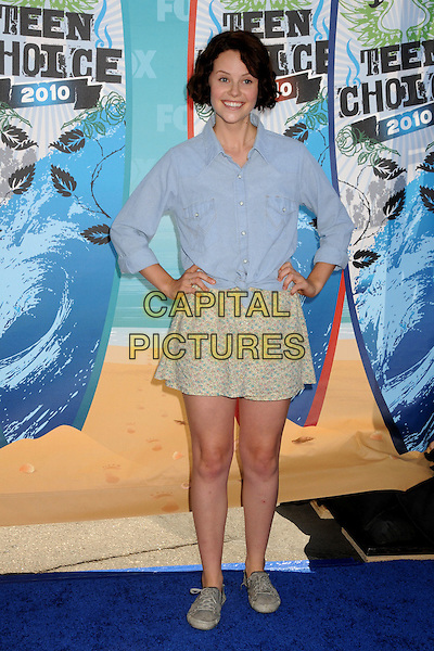SARAH RAMOS .Teen Choice Awards 2010 - Arrivals held at Universal Studios Gibson Amphitheatre, Universal City, California, USA..August 8th, 2010 .full length blue shirt yellow skirt hands on hips .CAP/ADM/BP.©Byron Purvis/AdMedia/Capital Pictures.