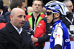 Former Champion Paolo Bettini chats to Gianluca Brambilla (ITA) Quick-Step Floors team at sign on before the start of the 2017 Strade Bianche running 175km from Siena to Siena, Tuscany, Italy 4th March 2017.<br /> Picture: Eoin Clarke | Newsfile<br /> <br /> <br /> All photos usage must carry mandatory copyright credit (&copy; Newsfile | Eoin Clarke)