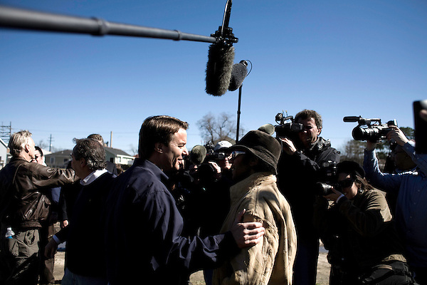 January 30, 2008. New Orleans, LA.. Former US Senator and presidential hopeful John Edwards bowed out of the presidential race today in New Orleans, where he had announced his presidential run in 2007. He spoke at the Musicians Village, a housing community being built in the 9th Ward by Habitat for Humanity.. Edwards was thanked by members of the community for his efforts to bring attention to the plight on the city of New Orleans.