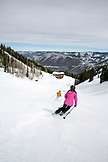 USA, Colorado, Aspen, skiing down to Bonnie's Restaurant, Aspen Ski Resort, Ajax Mountain