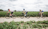 Later race winner Mihkel Ra&iuml;m (EST/Isra&euml;l Cycling Academy) riding the Plugstreets behind Moreno Hofland (NED/Lotto-Soudal) and ahead of Christophe Noppe (BEL/Sport Vlaanderen - Baloise)<br /> <br /> <br /> 1st Great War Remembrance Race 2018 (UCI Europe Tour Cat. 1.1) <br /> Nieuwpoort &gt; Ieper (BE) 192.7 km