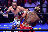"""Fairfax, VA - May 11, 2019: Julian J-Rock"""" Williams during Jr. Middleweight title fight against Jarrett """"Swift"""" Hurd at Eagle Bank Arena in Fairfax, VA. Julian Williams defeated Hurd to take home the IBF, WBA and IBO Championship belts by unanimous decision. (Photo by Phil Peters/Media Images International)"""