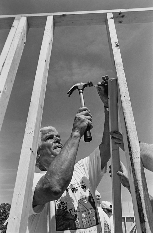 Rep. Jerry Lewis, R-Calif., who Spearheaded the idea Bipartisan participation in building the 2 homes on June 5, 1997. (Photo by Maureen Keating/CQ Roll Call via Getty Images)