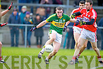 Marcus Mangan Kerry in action against John Hayes  Cork in the McGrath cup final at Mallow on Sunday.